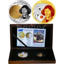 COPERNICUS Nicolaus 2 Gold Silver Coin Set 5$ 10$ Cook Islands 2008
