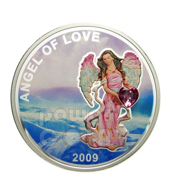 ANGEL OF LOVE Heart Shaped Swarovski Moneda Plata 1$ Palau 2009
