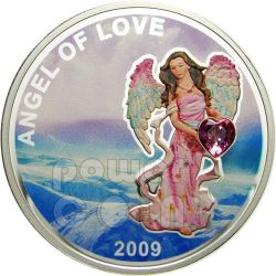 ANGEL OF LOVE Heart Shaped Swarovski Silver Coin 1$ Palau 2009