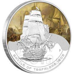 TRAFALGAR Naval Battle 1805 Moneda Plata 1$ Cook Islands 2010