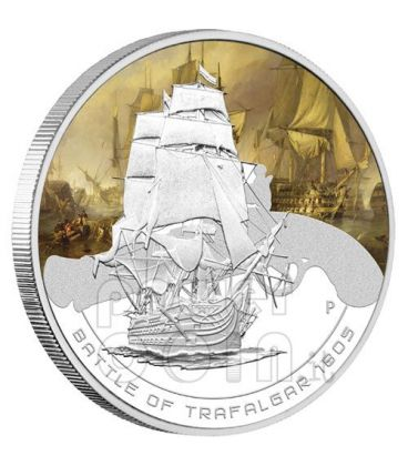 TRAFALGAR Battaglia Navale 1805 Moneta Argento 1$ Cook Islands 2010