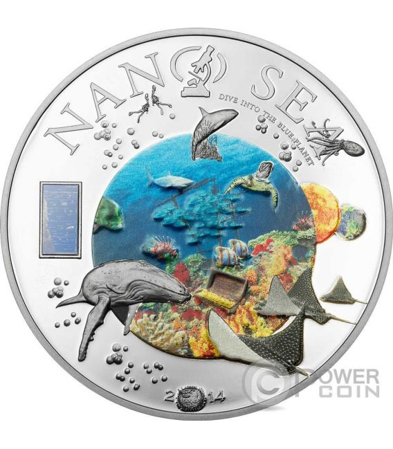 NANO SEA Dive Into The Blue Planet Silver Coin 10$ Cook Islands 2014