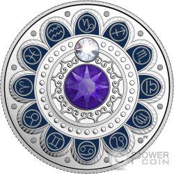 CAPRICORN Capricorno Zodiac Swarovski Crystal Moneta Argento 3$ Canada 2017