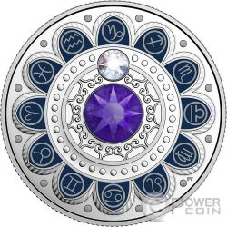 CAPRICORN Zodiac Swarovski Crystal Silver Coin 3$ Canada 2017