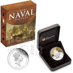 TRAFALGAR Battaglia Navale 1805 Moneta Argento 1$ Cook Islands 2010