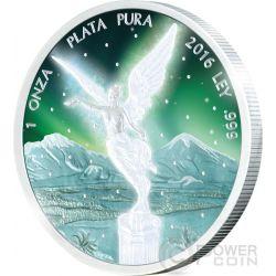 LIBERTAD Frozen Rhodium Aurora Rodio 1 Oz Moneta Argento Messico 2016