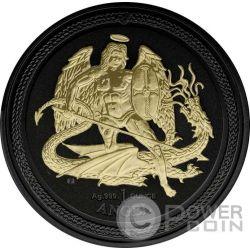 ANGEL Shade of Enigma Archangel Michael Black Ruthenium 1 Oz Silber Münze 1 Angel Isle of Man 2016