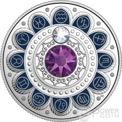 AQUARIUS Zodiac Swarovski Crystal Silver Coin 3$ Canada 2017
