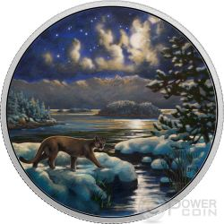 COUGAR Animals In The Moonlight Glow In The Dark 2 Oz Moneda Plata 30$ Canada 2017
