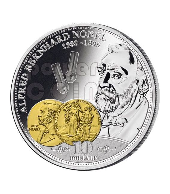 NOBEL Alfred Financial Tycoons Silver Coin 10$ Cook Islands 2009