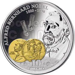 NOBEL Alfred Financial Tycoons Silber Münze 10$ Cook Islands 2009