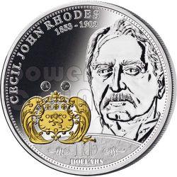 RHODES Cecil Financial Tycoons Moneda Plata 10$ Cook Islands 2009