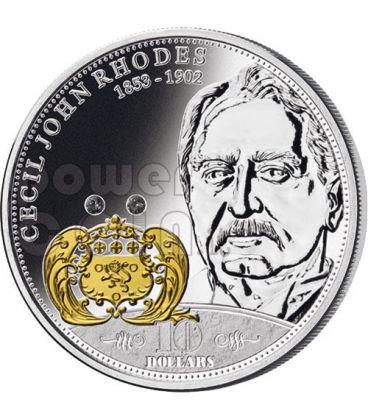 RHODES Cecil Mondo Della Finanza Moneta Argento 10$ Cook Islands 2009
