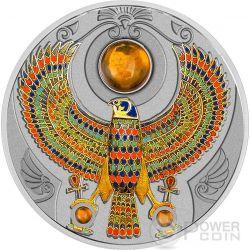 FALCON OF TUTANKHAMUN Horus Amber 2 Oz Silver Coin 2$ Niue 2017