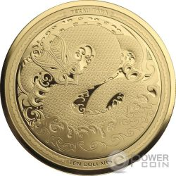 MYTHICAL TANIWHA Maori Tekau Tara 1 Oz Moneda Oro 10$ New Zealand 2017
