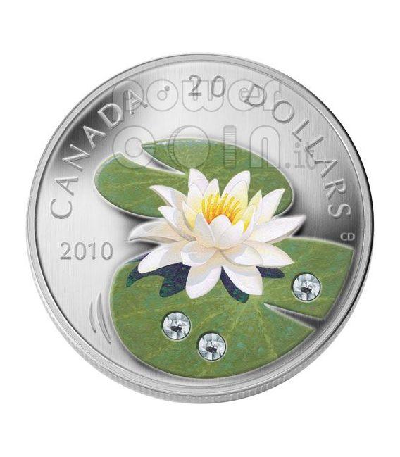 WATER LILY Ninfea Moneta Argento Swarovski 20$ Canada 2010