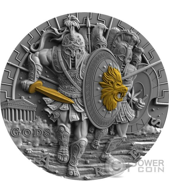 ARES God Of War Gods 2 Oz Silver Coin 2$ Niue 2017