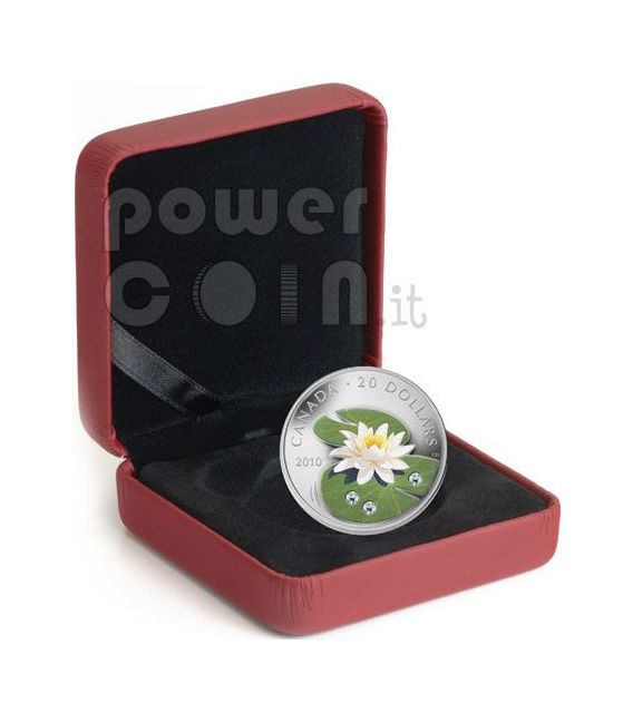 WATER LILY Lotus Silber Münze Swarovski Crystal 20$ Canada 2010