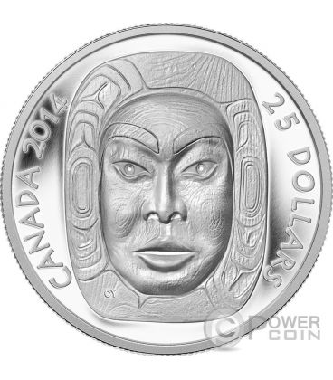 MATRIARCH MOON MASK First Nations Prime Nazioni Moneta Argento 25$ Canada 2014