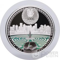BOSTON Labyrinths Of The World 2 Oz Silver Proof Coin 5000 Dram Armenia 2016