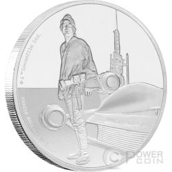 LUKE SKYWALKER Cavaliere Jedi Star Wars Classic 1 Oz Moneta Argento 2$ Niue 2017