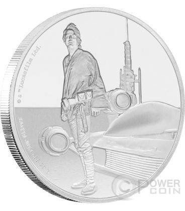 LUKE SKYWALKER Jedi Knight Star Wars Classic 1 Oz Silver Coin 2$ Niue 2017