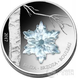 WINTER BIRCH LEAF Crystal Snowflake Four Seasons Silver Coin 1000 Francs Guinea 2017