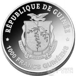 WINTER BIRCH LEAF Crystal Snowflake Four Seasons Moneda Plata 1000 Francs Guinea 2017