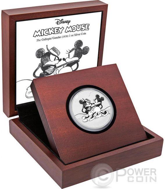 GALLOPIN GAUCHO Mickey Through The Ages Disney 1 Oz Silver Coin 2$ Niue 2017