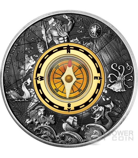 Compass Cardinal Points 2 Oz Silver Coin 2 Tuvalu 2017