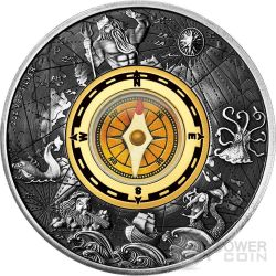 COMPASS Cardinal Points 2 Oz Silver Coin 2$ Tuvalu 2017