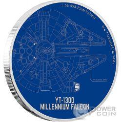 MILLENNIUM FALCON Star Wars Ships 1 Oz Moneta Argento 2$ Niue 2017