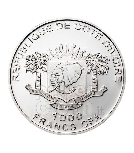 MAMMOTH GILDED Moneda Plata Prehistoric 1000 Francs Ivory Coast 2010