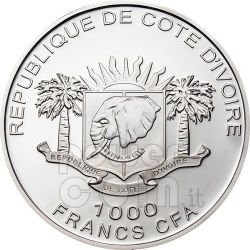 MAMMOTH GILDED Moneda Plata Prehistoric 1000 Francs Ivory Coast 2010