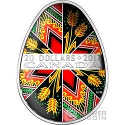 PYSANKA Uova Colorate Pasquali Ucraine Arte Popolare Moneta Argento 20$ Canada 2017