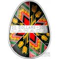 TRADITIONAL UKRAINIAN PYSANKA Easter Colored Egg Shape Folk Art Silver Coin 20$ Canada 2017