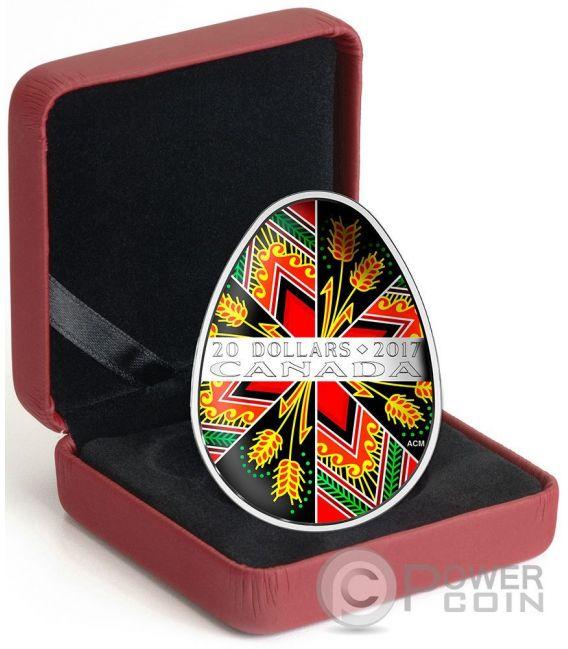 TRADITIONAL UKRAINIAN PYSANKA Easter Colored Egg Shape Folk Art Silver Coin 20$ Canada 2017