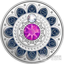 PISCES Zodiac Swarovski Crystal Silver Coin 3$ Canada 2017