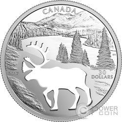 WOODLAND CARIBOU Renna Endangered Animal Cutout Moneta Argento 30$ Canada 2017