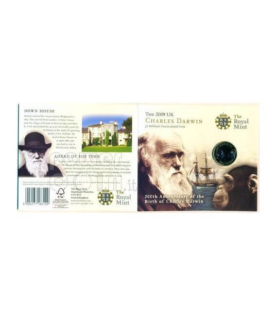 DARWIN Charles 200th Anniversary BU Moneda Pack £2 UK Royal Mint 2009
