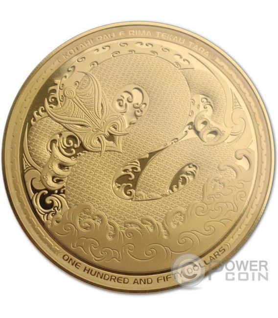 MYTHICAL TANIWHA Maori Tekau Tara 5 Oz Золото Монета 150$ Новая Зеландия  2017