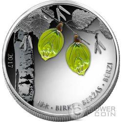 SPRING BIRCH LEAF Crystal Leaves Four Seasons Silber Münze 1000 Francs Guinea 2017
