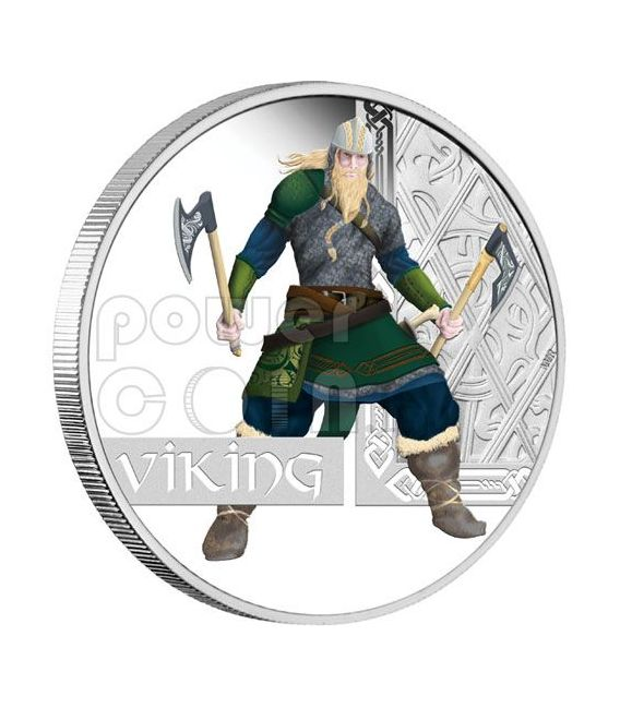 VICHINGO Viking Guerrieri Moneta Argento 1$ Tuvalu 2010