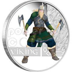 VIKING Norseman Great Warrior Moneda Plata 1$ Tuvalu 2010