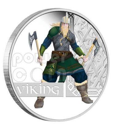 VICHINGO Viking Guerrieri Moneta Argento 1$ Tuvalu 2010