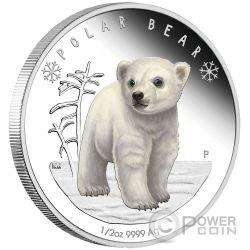 POLAR BEAR Polar Babies Silver Coin 50 Cents Tuvalu 2017