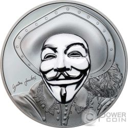 HISTORIC GUY FAWKES MASK II Maschera Anonymous V for Vendetta 1 Oz Black Proof Moneta Argento 5$ Cook Islands 2017
