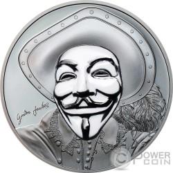HISTORIC GUY FAWKES MASK II Maschera Anonymous V for Vendetta 1 Oz Black Proof Moneta Argento 5$ Cook Islands 2017