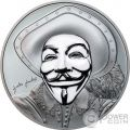 HISTORIC GUY FAWKES MASK II Mascara Anonymous V for Vendetta 1 Oz Black Proof Moneda Plata 5$ Cook Islands 2017