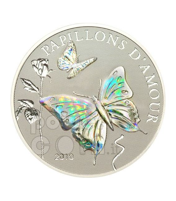 BUTTERFLIES OF LOVE Papillons Hologram Silber Münze 1000 Francs Cameroon 2010